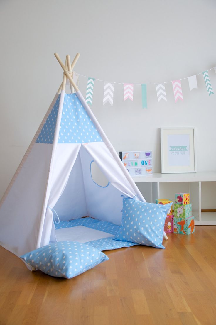 Blue drops kids teepee play tent with a padded floor mat by WigiWama on Etsy & 41 best kids teepee and play tents images on Pinterest | Teepee ...