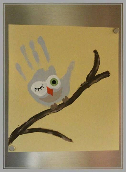 """Owl Always Love Camping"" ~ Have girls create with their hand print.  Then on back, sign each others' names with puffy paint.  Include date?"