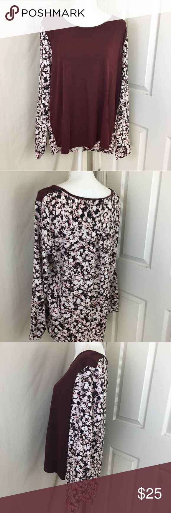 Ann Taylor | Burgundy & Floral Long Sleeve Top Excellent condition, like new! Ann Taylor. Burgundy & Floral Long Sleeve. Front is soft cotton burgundy —— back & sleeves are floral silk-like polyester.   Size XL    •NWT items are not pre-washed!  •If wrinkled, I will steam and prep before shipment!  •Need more pictures? ASK! ✨ •Fast shipping 📦 •Top rated seller ⭐️⭐️⭐️⭐️⭐️ •Packaged with care 💌 •10% discount on 2+ bundles 🛍 Ann Taylor Tops Blouses