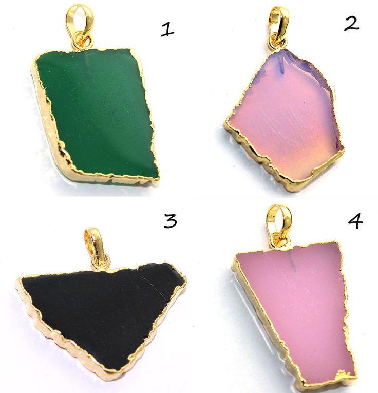 For Sale ! Onyx, Chalcedony & Pink Opal 24k Gold Plated Pendant Handmade Jewelry #Handmade #Pendant