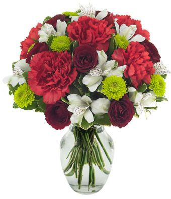 Carnations, alstroemeria, button mums and spray roses