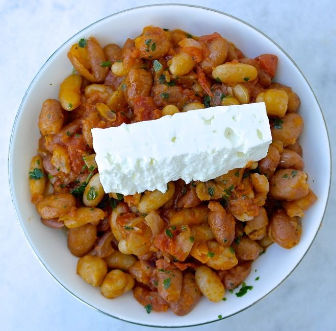 Greek Style Beans with Tomato Sauce and Feta Cheese recipe