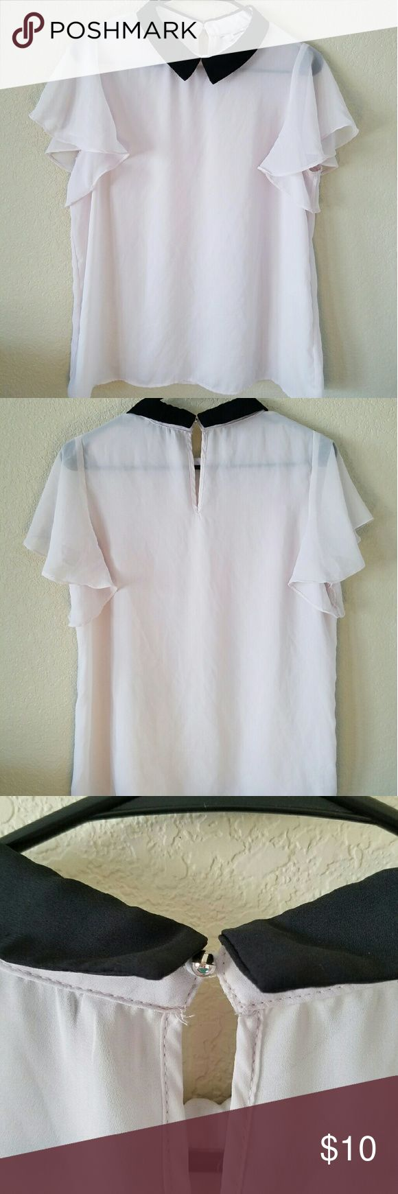 Collar chiffon blouse Short sleeve blouse. Its not white but really light pink colour. Has a button in the back. It is a see thru but not totally. Looks amazing just with jeans and white bra. Tally Weijl Tops Blouses
