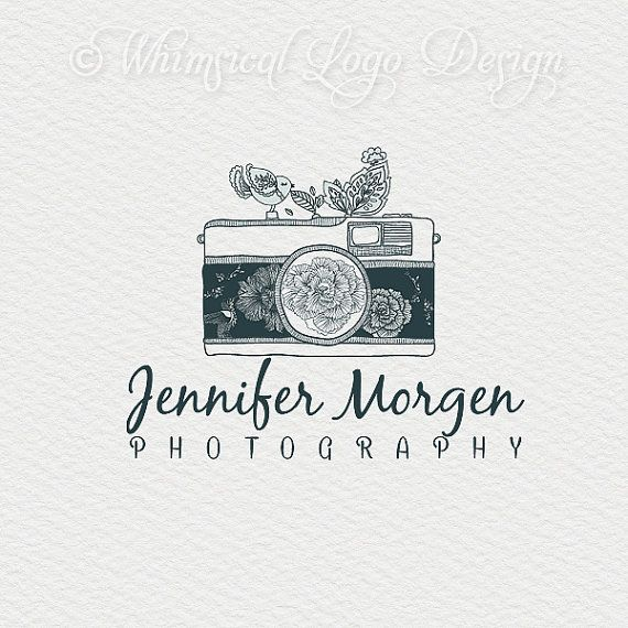 OOAK Camera logo design photography logo Whimsical Flowers Watermark logo.vintage logo design - photography logo/ graphic design