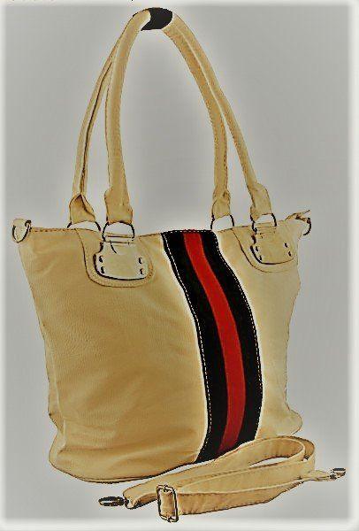 Mooie beige handtas schoudertas met groene en rode streepjes