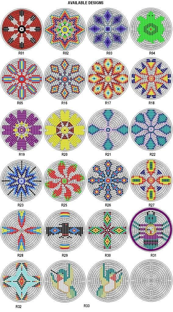 Native American Beadwork Designs   Native American Beading Patterns   Rosette Kit Fabric Native American ...