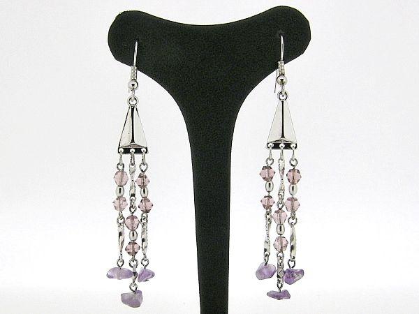Zilveren Chandelier oorhanger met Swarovski kristallen en amethist edelsteentjes
