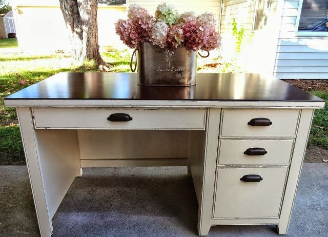Refurbished desk | stain + distressed paint possibly??