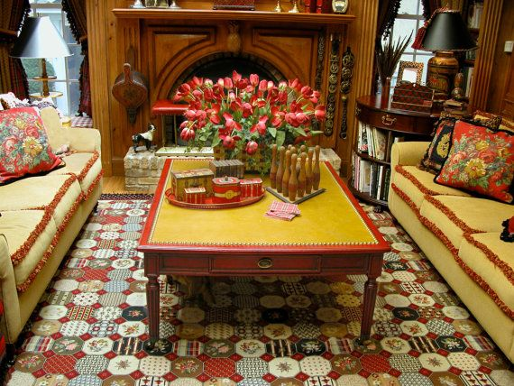 Distressed red coffee table from reclaimed wood by Artfirm on Etsy, $4600.00