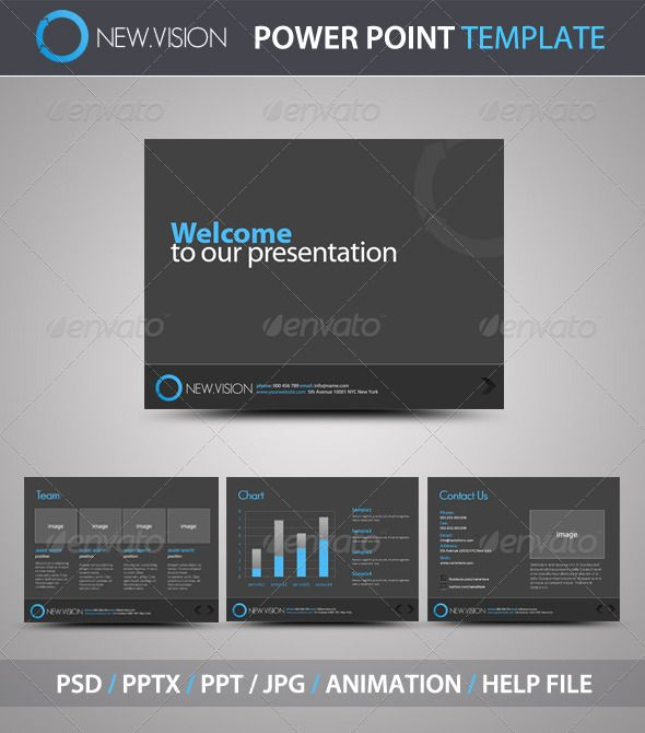 NewVision PowerPoint Template  #GraphicRiver         Professional Power Point Template   Features:   10 slides -Animated effects -PPTX -PPT -Jpgs -Layered PSD file -Help File   Fonts info inside the help file.   Check the video here:       Thank you!     Created: 9July11 PixelDimensions: 1024x768 PresentationFilesIncluded: PowerpointPPT #PowerpointPPTX #LayeredPSD #JPGImage Tags: blue #business #clean #gray #modern #powerpointpresentation #professional #simple #white