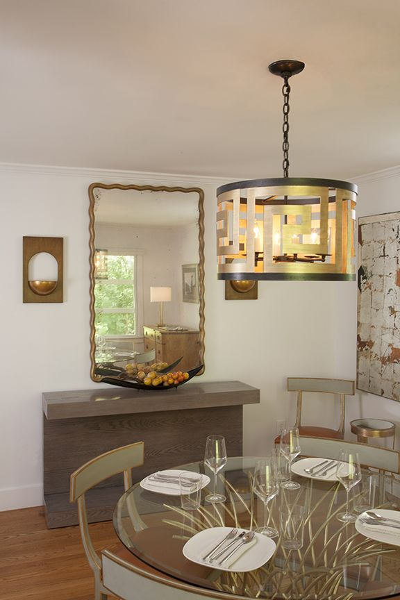 Our Greek Key Pendant Hangs Above A Tissage Dining Table Surrounded By Elgin Chairs