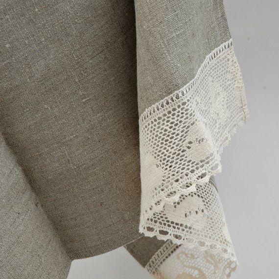 Kitchen towel, linen towel, romantic lace swan pattern, burlap linen towel, lace towel