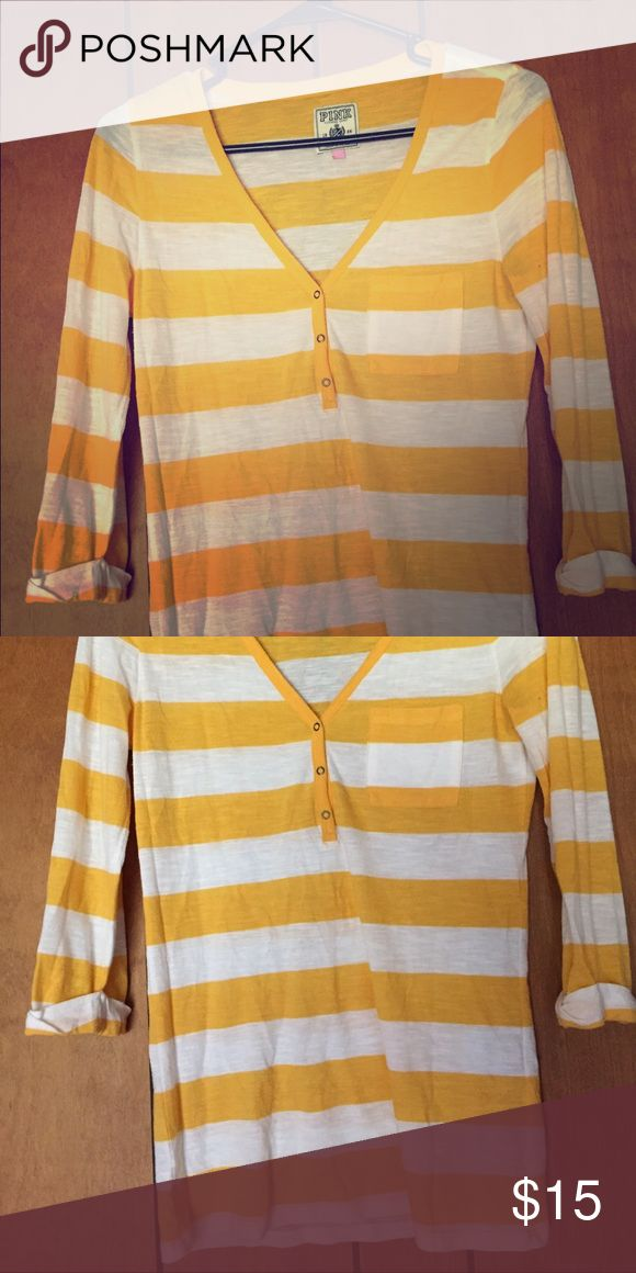 yellow and white strip PINK shirt Lightly worn, yellow and white strip, elbow length sleeve shirt! Victoria's Secret Tops Tees - Long Sleeve