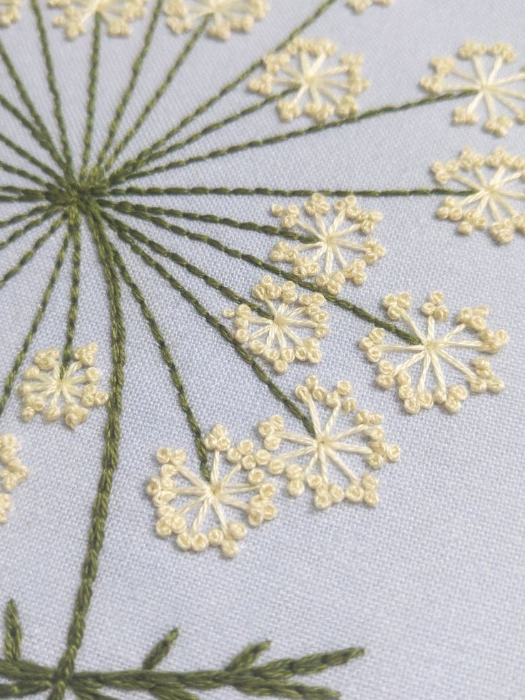 QUEEN ANNES LACE – pdf embroidery pattern, embroidery hoop art, wild carrot blossom, lacy white flower cluster, dandelion, summer wildflower – plantas flores suculentas bordados