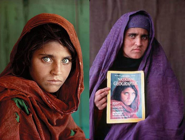 """Trente ans plus tard, celle que l'on surnommait """"la jeune fille afghane"""" refait parler d'elle. Les autorités pakistanaises l'accusent en effet de posséder de faux papiers. Sharbat Gula photographiée à l'âge de 13 ans par Steve McCurry. Vingt ans plus tard, le photographe a retrouvé sa trace. Crédit: Steve McCurry"""