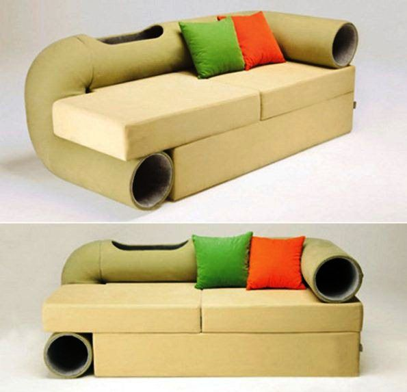 A sofa that combines play time for your cat while you relax :)  .... or try to ;) great idea!