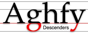 Descenders is just like ascenders only opposites. A Descender is the bottom portion of a letter that falls below the mean line we see this with characters such as g's and y's.