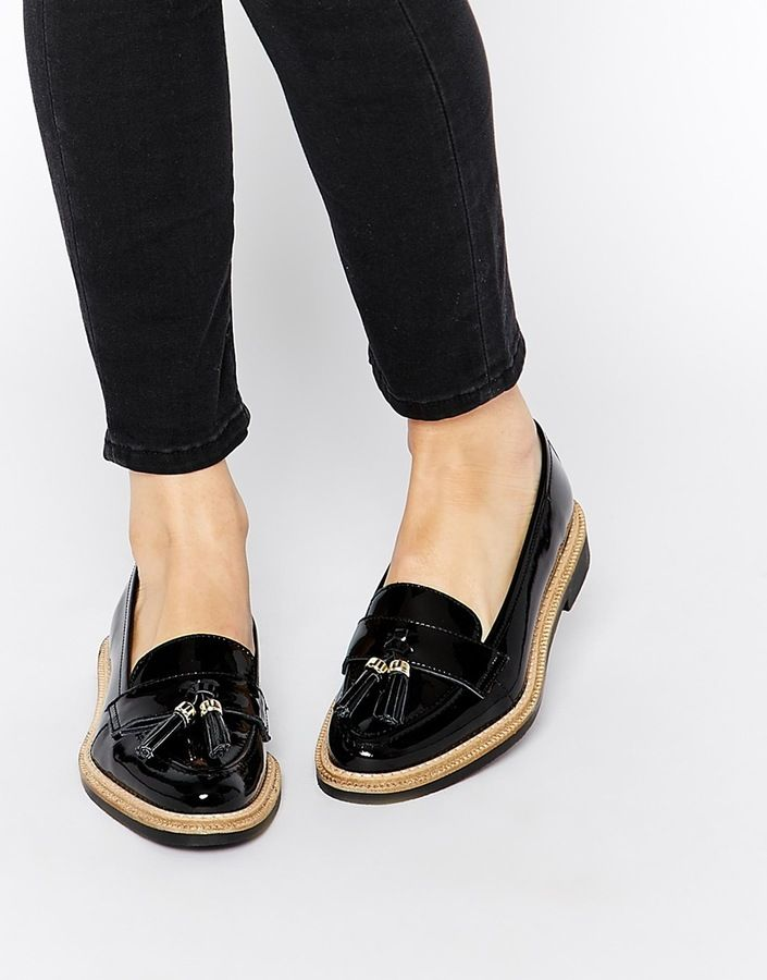 $162, Black Leather Tassel Loafers: KG by Kurt Geiger Lucien Black Tassel Loafer Flat Shoes. Sold by Asos. Click for more info: http://lookastic.com/women/shop_items/157454/redirect