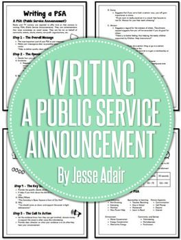 Writing a PSA (Public Service Announcement) is a fantastic way to get your students interested in writing. It allows them to take a social issue that they can connect with and express them self in creating an announcement for that issue. This is a comprehensive package of resources and it includes:1.