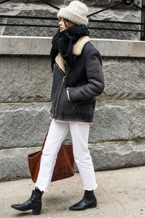 +-+Styling+Tip:+White+jeans+++shearling+jacket+=+your+new+favorite+winter+combo.
