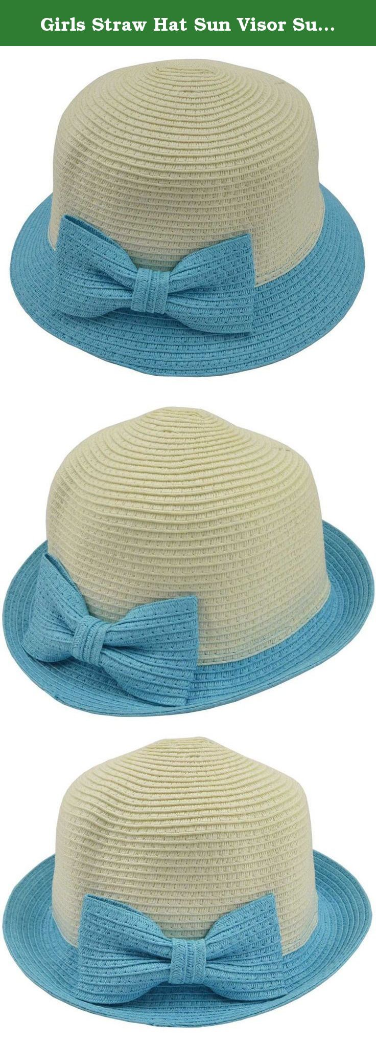 Girls Straw Hat Sun Visor Summer Beach Hat Bow Tie Design XMZ01 (light blue). Girls Straw Hat Sun Visor Summer Beach Hat Bow Tie Design.