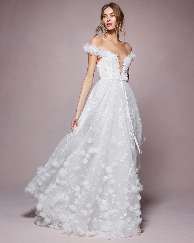 Introducing The Kyla From The Spring Summer 2020 Marchesa Notte Bridal Collection The Full Co Marchesa Bridal Marchesa Wedding Dress Ball Gown Wedding Dress