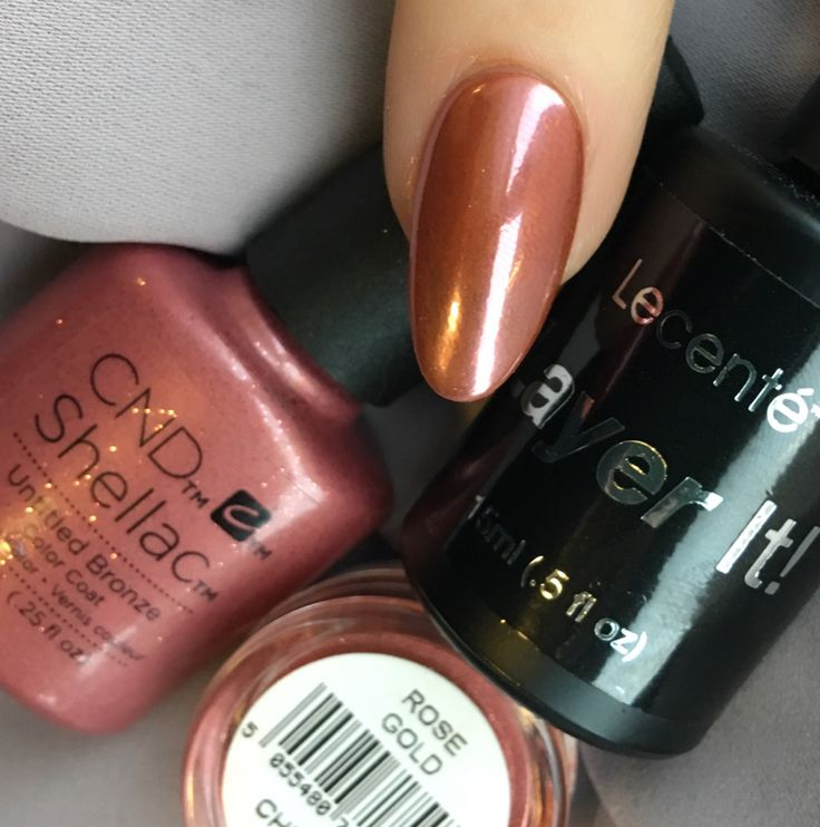 Nail Polish Colors Bronze: Lecente Rose Gold Chrome With Lecente Layer It Over