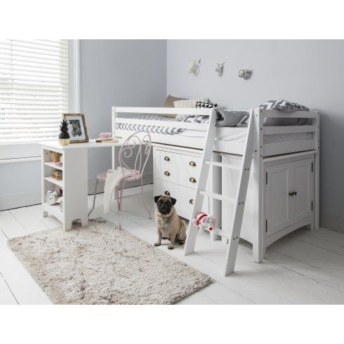 Noa and Nani Cabin Bed Midsleeper Sleepstation in White with Chest of Drawers, Cabinet & Desk