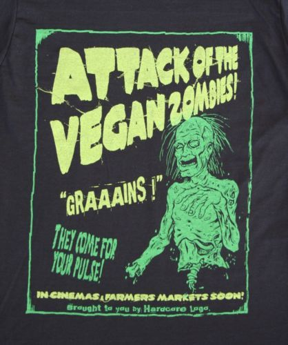VEGAN-ZOMBIE-GRAAAAINS-LADIES-T-SHIRT-HORROR-GOTH-ROCKABILLY-PUNK (Talla... ¿M?) 30€ con envío incluído.