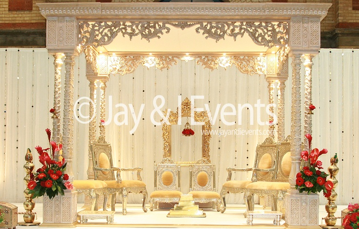 Mandap with internal lighting and simple backdrop (Jay and I)