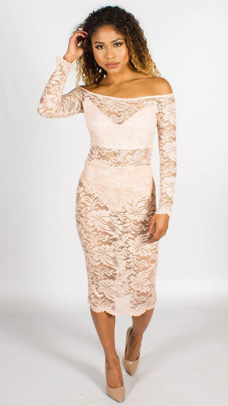 Lace Midi Nude Bodycon Dress
