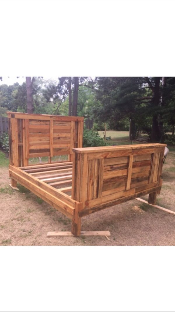 Used Brown Wooden Bed Frame And End Tables For Sale In Fort