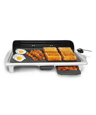 Loving this White Electric Indoor Griddle on #zulily!  Hot and flat, this electric griddle allows for a variety of cooking options while lending its modern design to your kitchen décor.  24.64'' W x 4.15'' H x 12.36'' D Aluminum Hand wash Imported #zulilyfinds
