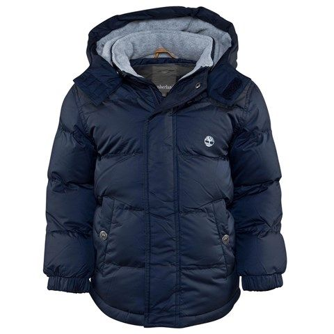Timberland Kids Navy Branded Puffer Coat   AlexandAlexa
