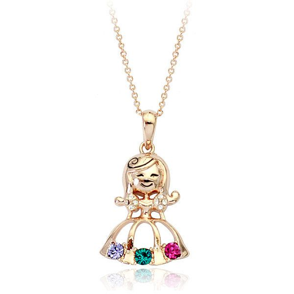 Мода jewlery маленькая девочка goll кулон ожерелье ювелирных изделий с красочными горный хрусталь