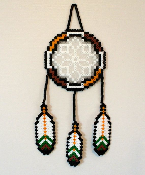 Perler Bead Dreamcatcher - Nature with feathers by PixelPearls