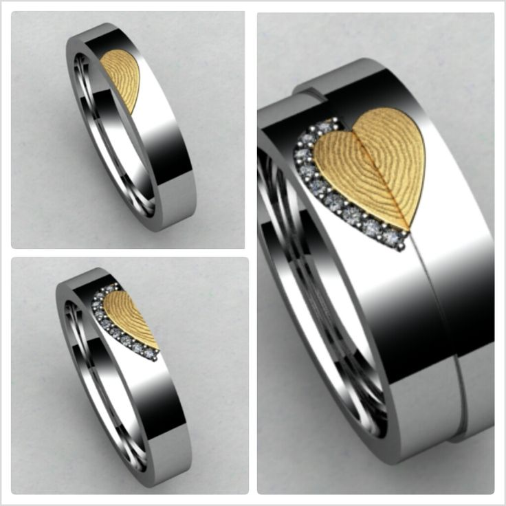 Love is forever.. and these matching His & Hers Diamond Wedding bands with a Heart fingerprint stand for the simple beauty of it! http://brilliance.com/custom-engagement-rings (These custom His and Hers bands are set in White Gold, and feature a heart fingerprint that becomes one when the bands are put together. The Hers band features diamonds outlining the half heart.)