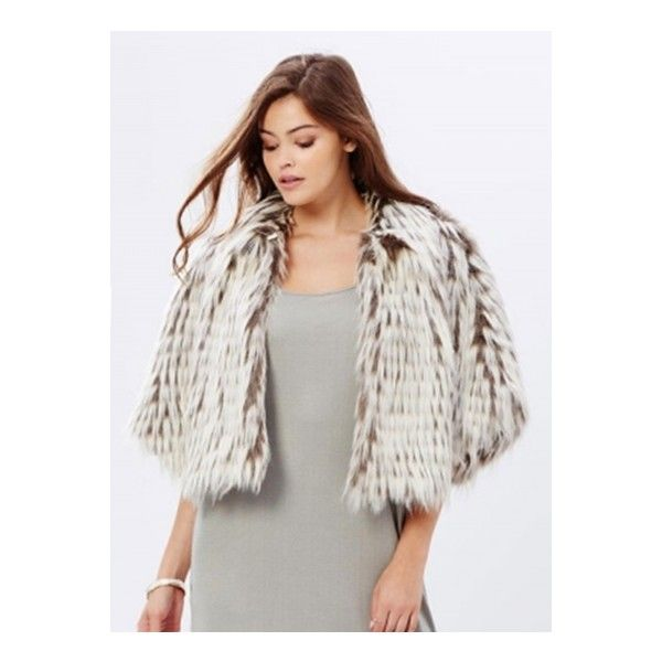 Women's Faux Fur Open Front Cape Style Coat ($30) ❤ liked on Polyvore featuring outerwear, coats, white, white coat, imitation fur coats, white faux fur coat, faux fur cape and fake fur coats