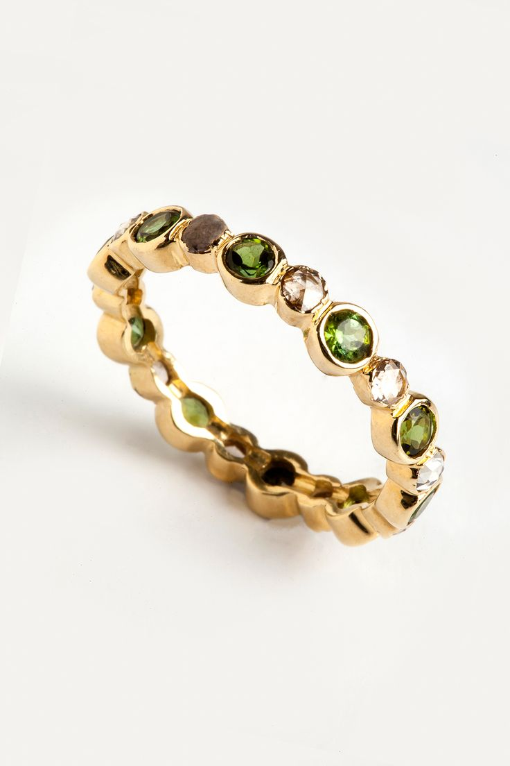 Hania Kuzbari Freestyle Collection // 18K yellow gold, brown diamond, green tourmaline // http://haniakuzbari.com/freestyle.php