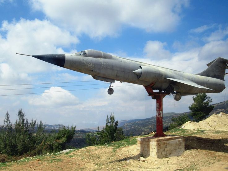 This mounted F-104A Starfighter was glimpsed beside the highway between Jerash and Ajloun, Jordan. The last Starfighter was withdrawn from service in 2004.