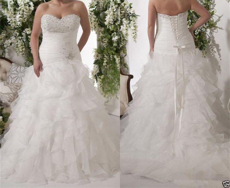 Plus Size White/Ivory Ruffles Wedding Dress Bridal Gown Custom Size 2-28W | Clothing, Shoes & Accessories, Wedding & Formal Occasion, Wedding Dresses | eBay!