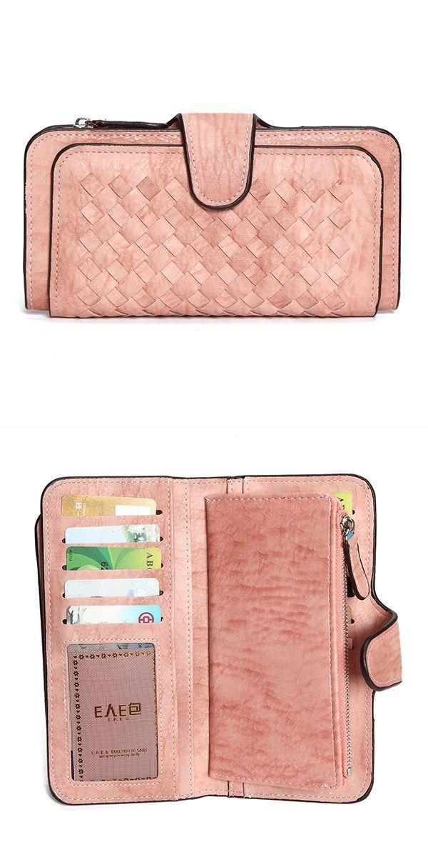 T Anthony Men 8217 S Wallets 14 Card Slots Women Woven Pattern Pu Leather