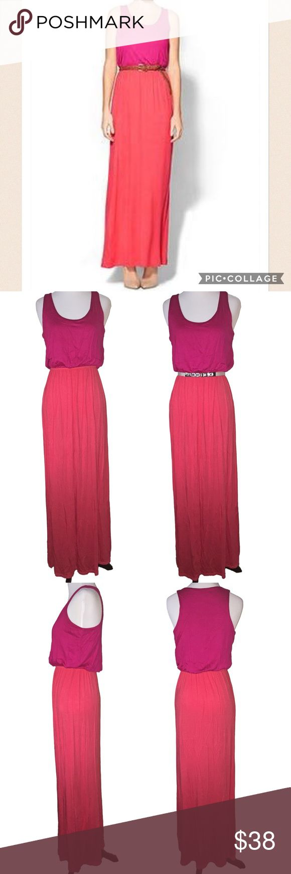 NWOT Hive & Honey Quinn Colorblock Maxi, S NWOT Hive & Honey Quinn Colorblock Maxi in size Small. Never worn, new condition. Simple pink and orange colorblock easy wear maxi. Add a belt around the waist to add personality (one pictured is not for sale). Scoop neck, sleeveless, elastic waist. Soft and stretchy. Purchased from Piperlime. Made in the USA. 96% rayon, 4% spandex. Machine wash cold. Hive & Honey Dresses Maxi