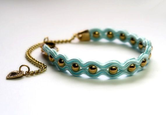 mint & gold soutache bracelet free shipping by KimimilaArt