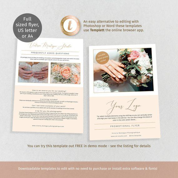 FAQ flyer promotional template, full page wedding, florist