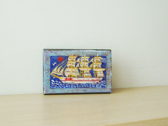 Vintage folk painting Greek sailboat by ArktosCollectibles on Etsy