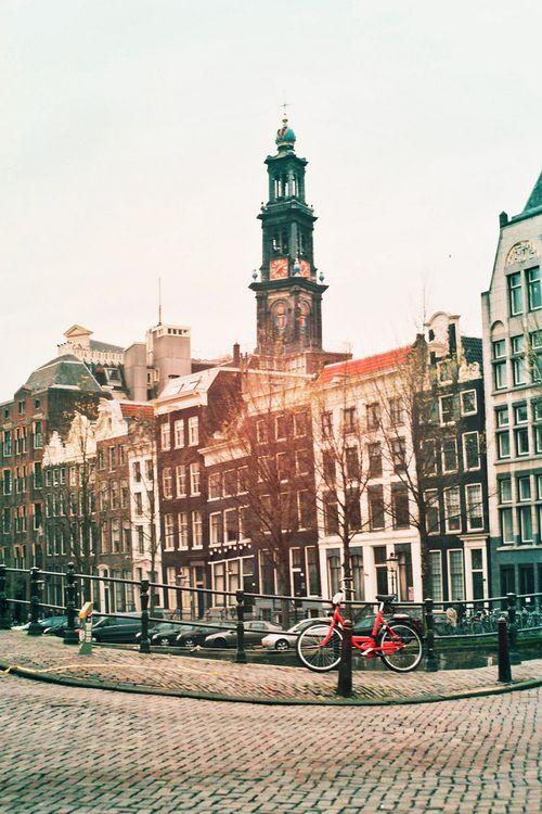 Big Red Lonely Bike by Katarina Ribnikar. Amsterdam