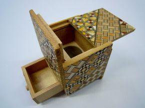 Japanese Puzzle box (Himitsu bako)- 54mm (2.1inch) Kaku Cube Open by 4steps with hidden Drawer box Yosegi