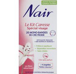 Nair Le kit caresse, spécial visage, mono-bandes de cire froide (6,40 EUR) | Utilise pour les sourcils, 5 étoiles dans ma trousse de toilette. LOVE