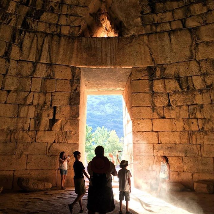 Snapping pictures and making memories in the stunning morning light at the ancient Treasury of Atreus Mycenae.  #mycenae #history #beautiful #capturethelight #Peloponnese